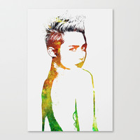 Miley Cyrus Stretched Canvas by Greg21