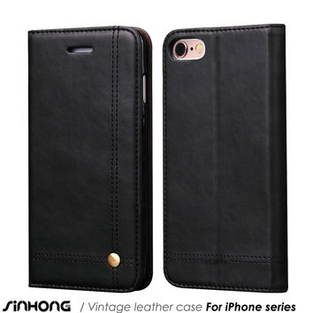 Luxury Leather Wallet Phone Case For iPhone 6 6S Plus Flip Cover Pouch Card Slot Stand Magnetic Fundas For iPhone 5 5S Se 7 Plus