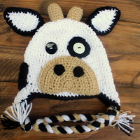 Crochet Cow Earflap Hat - Size Toddler/Preschooler