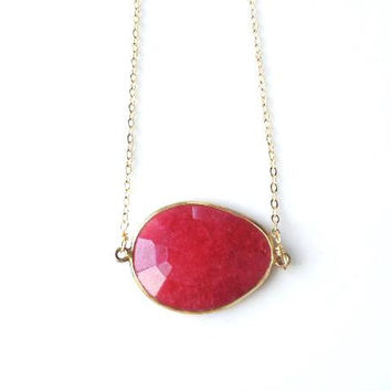 Grace Vibrant Ruby Quartz Bezel Pendant Necklace