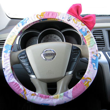 The Original Disney Princess Inspired Steering Wheel Cover with Matching Bright Brink Pink Bow