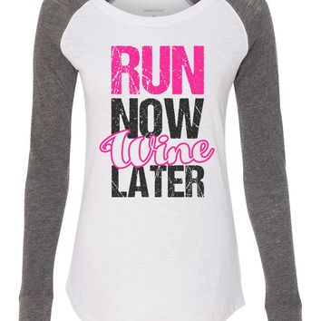 "Womens ""Run Now Wine Later"" Long Sleeve Elbow Patch Contrast Shirt"
