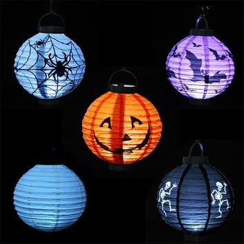 New Halloween Decoration Pumpkin Lighted Paper Lanterns Spider Bat Skull Lanterns Party Cosplay Props 2pcs Free Shipping