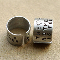 Personalized Mother Daughter Ring Set, The Love Between a Mother & Daughter Is Forever, Matching Aluminum Cuff Rings