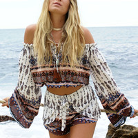 Boho Long Sleeve Strappy Shirt Top Tee Shorts Set Two-Piece
