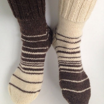 Hand knitted asymmetrical socks women size 8-9. Wool yarn.