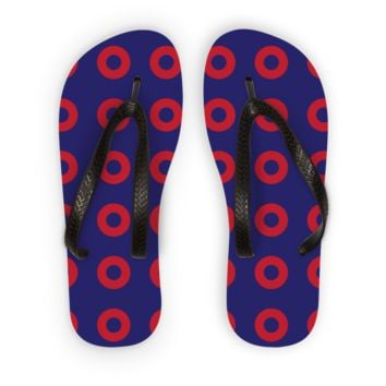 Red Circle Donut Kids Flip Flops