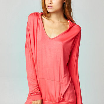Coral Pullover Dolman Hoodie With Pockets