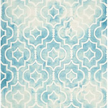 Dip Dye Contemporary Indoor Area Rug Turquoise / Ivory