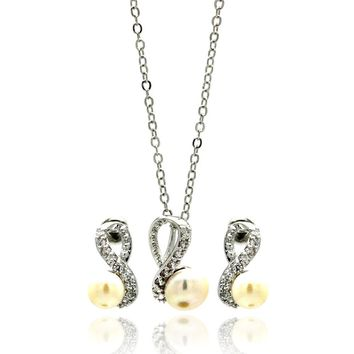 Rhodium Plated Brass Pearl Drop Figure 8 Clear Cubic Zirconia Stud Earring & Necklace Set: SOD