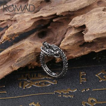 ROMAD Men Punk Ring Stainless Steel ring Adjustable Black Silver Dragon Finger Ring Chinese Men's Jewelry Hip Hop Party ring R4
