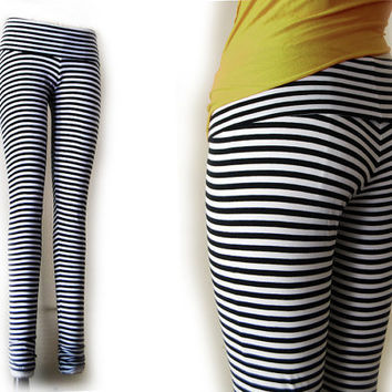 Black and White Stripped Leggings in Cotton Lycra XS by BajaSoul