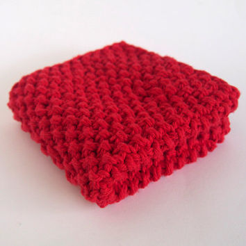 hand knit plushy cotton washcloth in bright scarlet red
