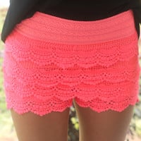 She's So Pretty Lace Shorts: Neon Pink