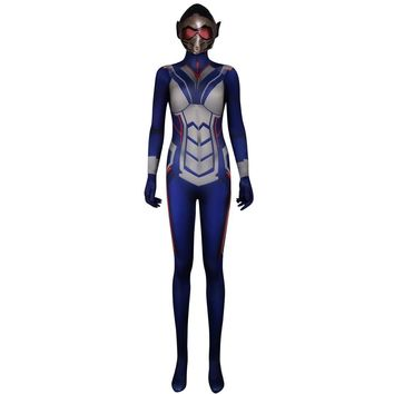Cool New Women Ant-Man And The Wasp Cosplay Costume Halloween Carnival Wasp Costume For Women Jumpsuit  and maskAT_93_12