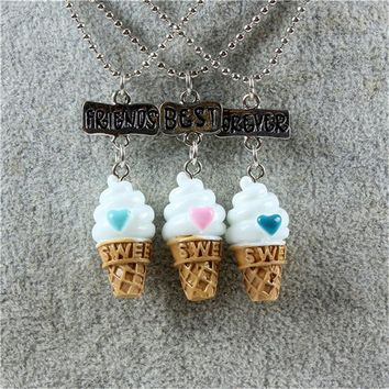3 piece Best Friends Forever Ice cream Pendant Necklaces