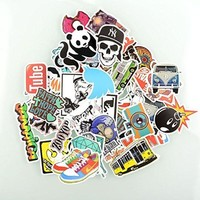 {Factory Direct Sale} (Pack of 50) Stickers Skateboard Snowboard Vintage Vinyl Sticker Graffiti Laptop Luggage Car Bike Bicycle Decals mix Lot Fashion Cool