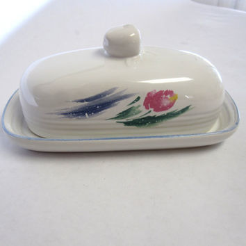 White Butter Dish Large Keeper Margarine Serving Tray