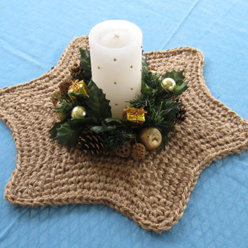 Star Shaped Centerpiece Doily - Nautical Centerpiece - Crochet Starfish - Jute Trivet - Crochet Table Centerpiece - Centerpiece Doily