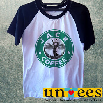 Jack Skellington Coffee Logo Short Raglan Sleeves T-shirt