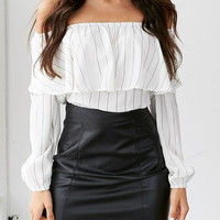 White Striped Print Off The Shoulder Ruffle Blouse