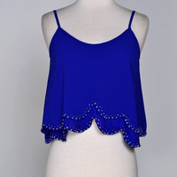 To The Beach Crop Top: Royal Blue - Shoreline Boutique