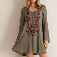 Floral Embroidery Shift Dress - Olive