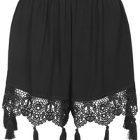 Crochet Tassel Trim Shorts - Black