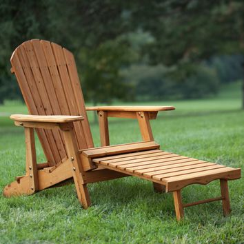Coral Coast Big Daddy Reclining Tall Wood Adirondack Chair with Pull-out Ottoman - Natural | Hayneedle