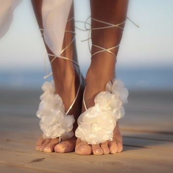 Organza  flower dreams  barefoot sandal, beach wedding barefoot sandal,nude shoes,barefoot sandals,anklet