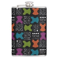Silly Pug Songs Flask With Glitter Pugs