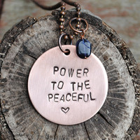 "Peaceful Inspiration Necklace, Michael Franti-Inspired Pendant reads ""Power to the Peaceful"" with Iolite stone"