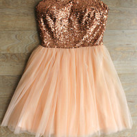 """Party Princess"" Rose Gold Sequin Dress"