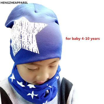 2017 new cotton star spring warm children scarf+cap sets boy girl beanies &collars baby kids hats plus size for kids 4 -10 year