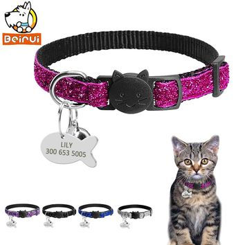 Gorgeous Adjustable Nylon Quick Release Cat Collar with Personalized Tag