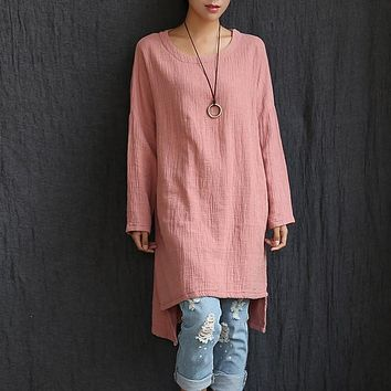 O-neck Long sleeve Cotton linen Women Long Blouse Shirt Plus size Loose Casual Shirt Solid White Red Pink Women Blouse Tops