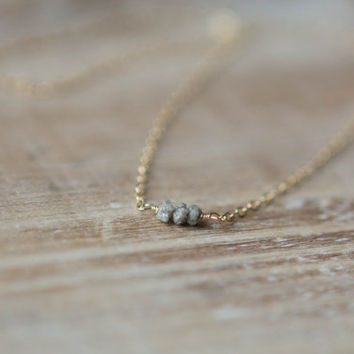 Gold Raw Diamond Necklace - Tiny Natural Diamonds - Gold Filled - Rose Gold Filled - Sterling Silver - Layering Necklace - Christmas Gift