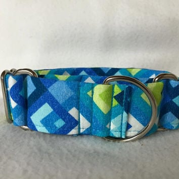 "Boxed In Blue/Green Martingale or Quick Release Collar 5/8"" Quick Release 3/4"" 1"" Martingale Collar, 1.5"" Martingale 2"""
