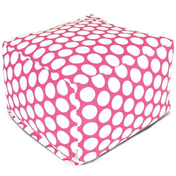 Hot Pink Large Polka Dot Large Ottoman