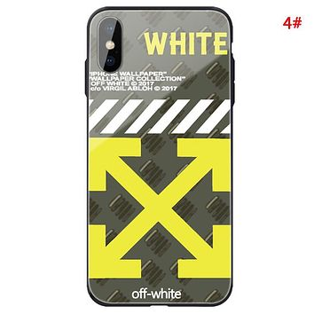 Off White Fashion New Letter Arrow Print Women Men Glass Shell Protective Cover Phone Case 4#