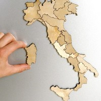 Italy Magnetic Wood Map Puzzle