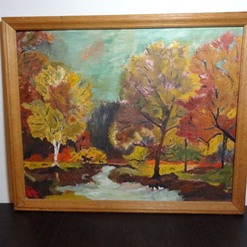 Vintage Framed Autumn Woodland Painting - Unsigned Original Artwork -