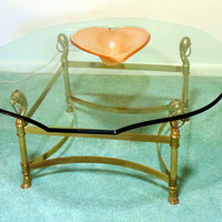 Vintage Mid Century, Hollywood Regency Brass & Glass Coffee Table