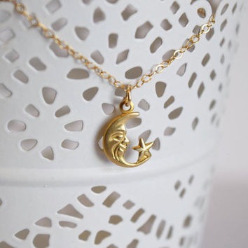 Tiny Crescent Moon Necklace, 14k gold filled moon necklace, gold crescent moon necklace, small moon necklace, vintage raw brass charm