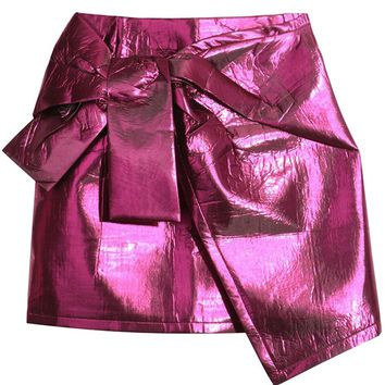Hot Pink Metallic Asymmetric Hem Mini Skirt