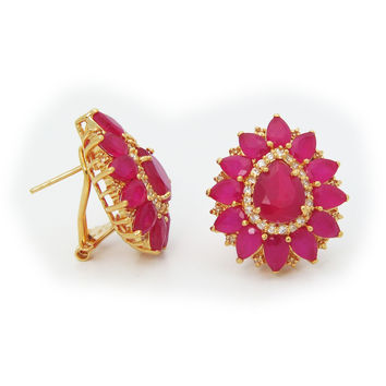 Victorian Red Rubita Crystal Stone Fine Gold Tone Sterling Silver Stud Earrings by Fronay Co