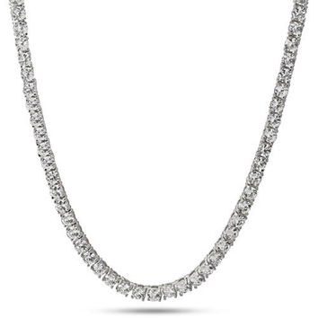 4mm ICED OUT Platinum Style One Row Cubic Zirconia CZ Necklace Chain