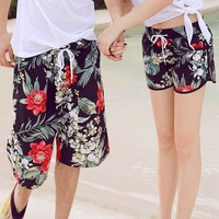 Shorts Men Summer Hawaii Beach Board Shorts Flower Printing