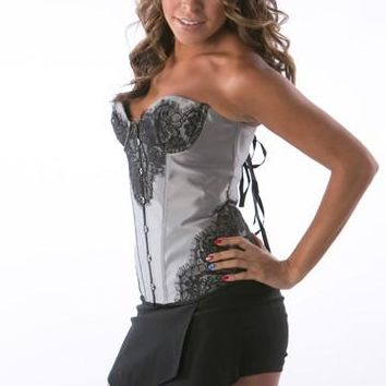 Grey Floral Lace Strapless overbust Corset