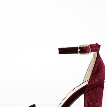 Something Sweet Burgundy Velvet Ankle Strap Heels